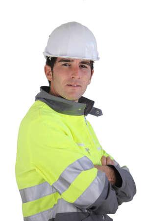 reflect: 높은 시정 재킷을 착용하는 사람 (남자) 스톡 사진