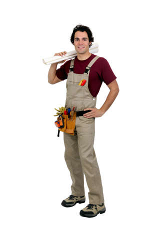 Manual worker stood with plans Stock Photo - 12905087