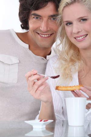 hot wife: Couple having breakfast