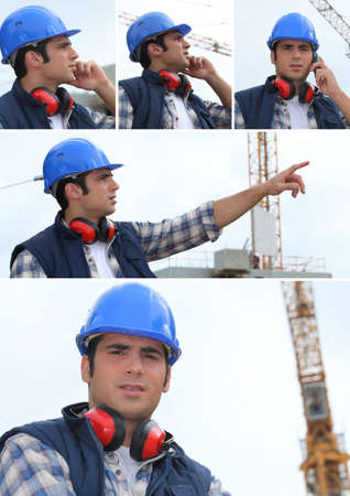 anti noise: a building site manager working Stock Photo
