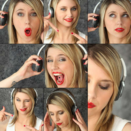 side pose: blonde with red lipstick and headset striking poses Stock Photo