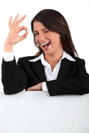 winking: portrait of a businesswoman