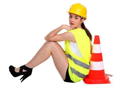 white color worker: Road worker taking a rest