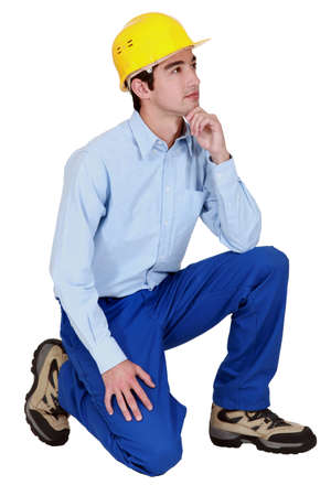 A pensive construction worker  Stock Photo - 12906201