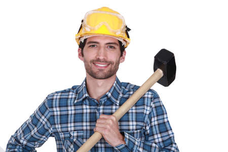 flannel: Tradesman holding a mallet