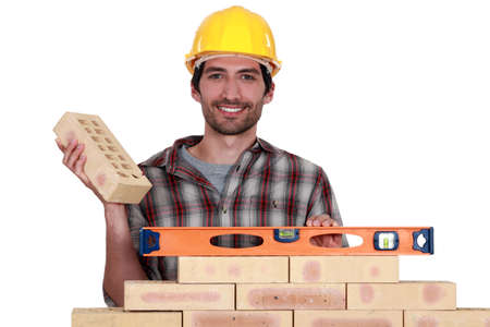 perfectionist: Bricklayer with a spirit level