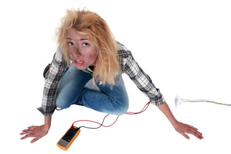 careless: Careless woman electrician