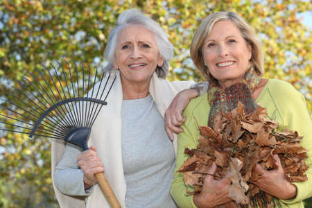 45 55 years: Mother and daughter collecting leaves Stock Photo