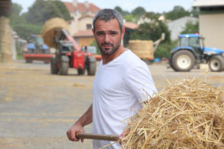 taking charge: a farmer taking straw with a fork