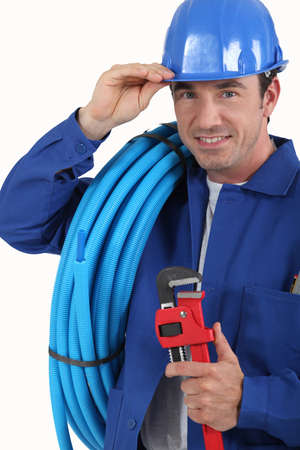 worker with blue helmet photo