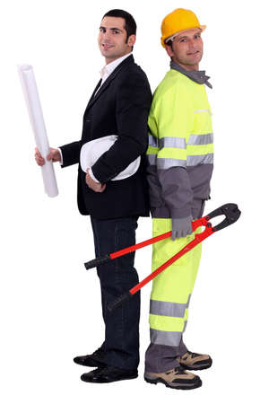 Architect and construction worker Stock Photo - 12910642