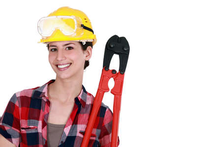 Woman holding bolt-cutters Stock Photo - 12910673