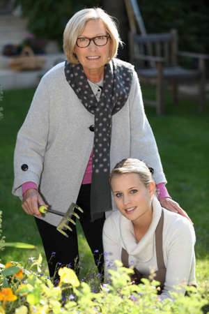 Mother and daughter gardening Stock Photo - 12728916