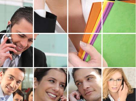 zakelijke medewerkers bij de telefoon Stockfoto