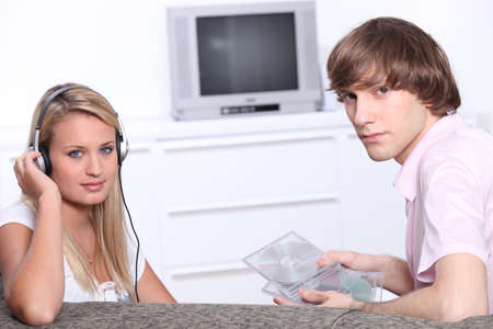 Teenagers listening to music photo