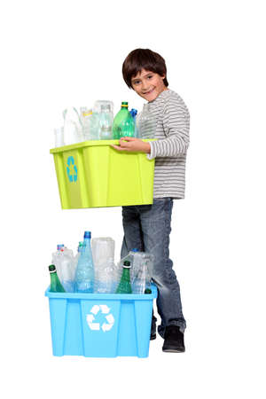 little boy waste sorting photo