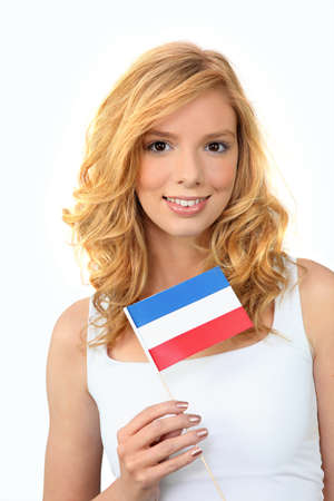 Girl holding Dutch flag Stock Photo - 12729308