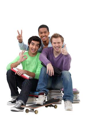 classmates: Three teenagers done studying