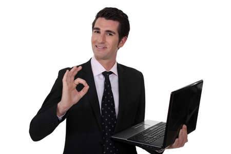 suggesting: Businessman suggesting everything is OK Stock Photo