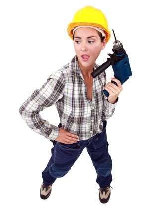 Handywoman with drill Stock Photo - 12912242