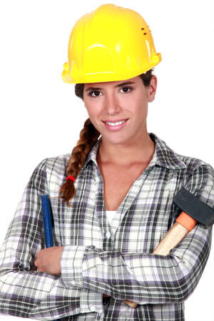 bezel: Woman with hammer and chisel Stock Photo