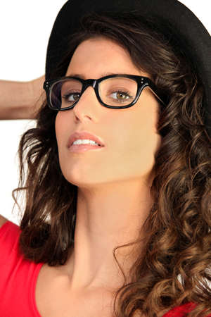 groping: Portrait of woman with sunglasses and a hat Stock Photo
