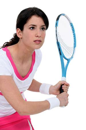 wristbands: Woman playing tennis Stock Photo