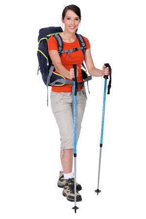 nordic walking: Female hiker