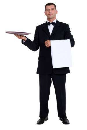 Male waiter holding tray photo
