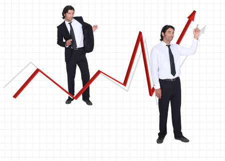 Businessman and growing arrow on white background photo