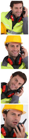 anti noise: Portraits of building worker Stock Photo