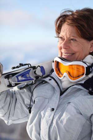 ing: Mature female skier