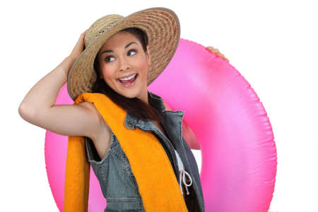 saver: Enthusiastic girl ready for the  beach Stock Photo