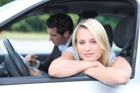 examiner: Driving lesson Stock Photo