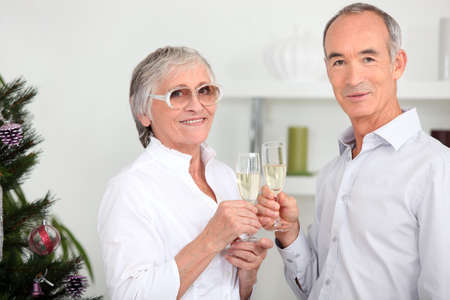 Elderly couple drinking champagne in front of Christmas tree photo