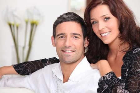 unwinding: Couple unwinding at home Stock Photo