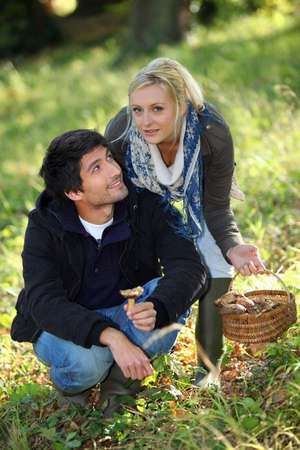 Young couple gathering mushrooms in field Stock Photo - 12500660