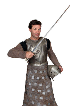 40 45: Man in shining armour Stock Photo