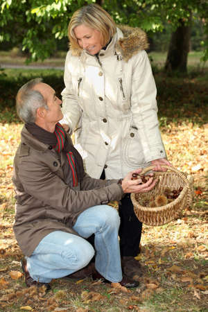Middle aged couple going chestnut picking Stock Photo - 12500761