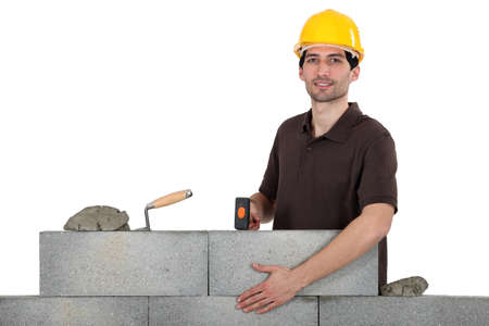 stonemasonry: Construction worker at work