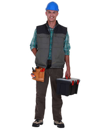 A tradesman arriving at work photo