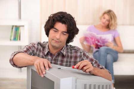 Television repairman photo
