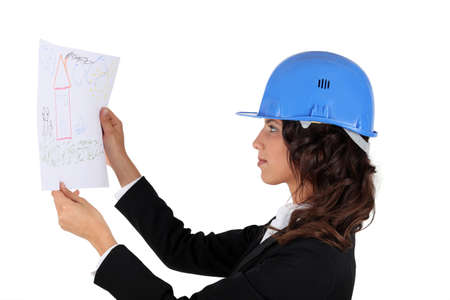 An engineer inspecting drawing Stock Photo - 12530094
