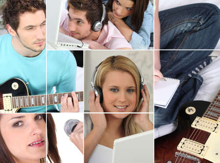 photomontage representing female and male music fans Stock Photo - 12529743