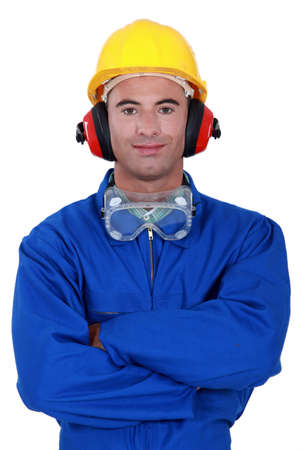 Portrait of a well-protected tradesman Stock Photo - 12529836