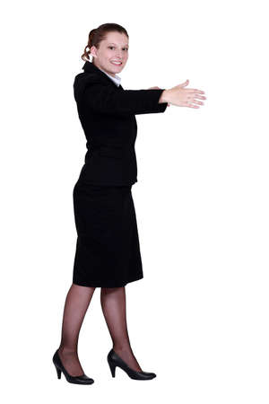 Woman gesturing a hug  Stock Photo - 12528942
