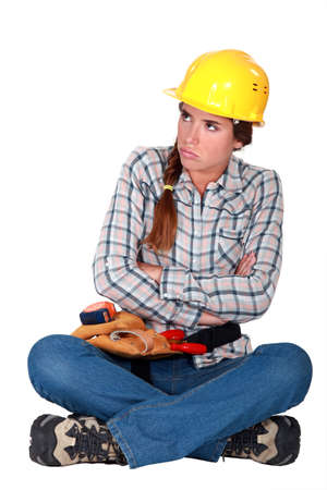 bummed: Female laborer blowing