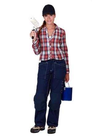 housepainter: Female housepainter on white background Stock Photo