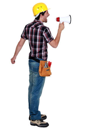 Foreman screaming in a bullhorn photo