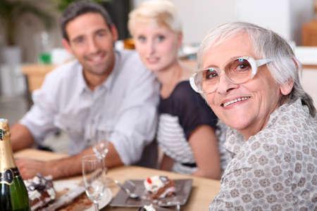 family having dinner photo